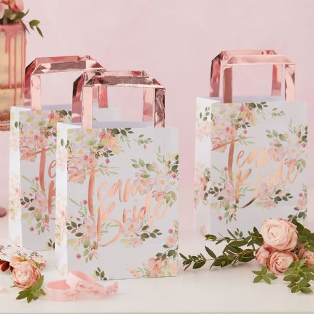 "Floral Rose Gold ""Team Bride"" Party Bags"